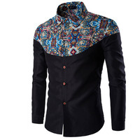 Men's Luxury Long Sleeve Casual Pattern Slim Fit Dress Shirt