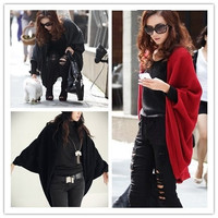 Women's Batwing Cape Poncho Knit Top Cardigan Sweater Coat Outwear Shawl Blouse(Size S/M/L Black/Red/Grey)
