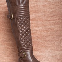 Natures Breeze Standing Style Engagement Over The Knee Faux Leather  Quilted Boots Ralph-03h - Brown