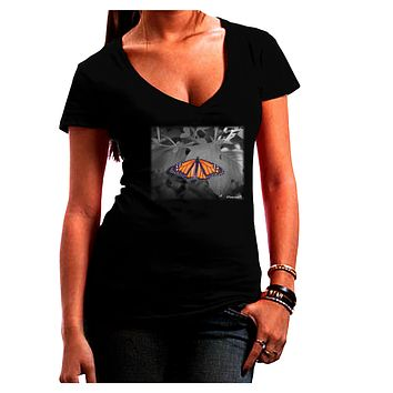 Monarch Butterfly Photo Juniors Petite V-Neck Dark T-Shirt
