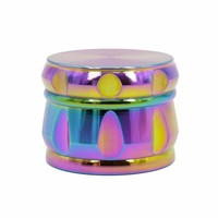 4 Layers Rainbow Color 63mm Diameter 46mm Height Zinc Alloy Herb Tobacco Weed Grinder Smoke Pipe Hookah Hand Muller Glass Bong
