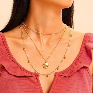 Heart Charm Layered Chain Necklace 1pc