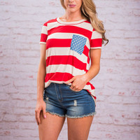 Stars And Stripes Top, Red