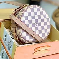 Onewel LV small apple bag round bag classic Louis Vuitton carry pouch white tartan