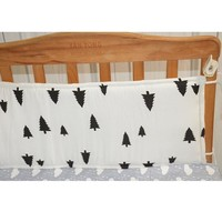 1PCS 70*30cm Baby Crib Cotton Bumpers In the Crib For Newborn Linen Cot Bumper Baby Bed Protector Grey Stars Print Kids Bedding