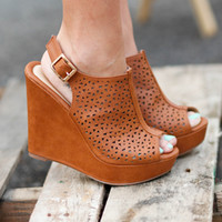 Cognac Peep Toe Wedge - Lotus Boutique