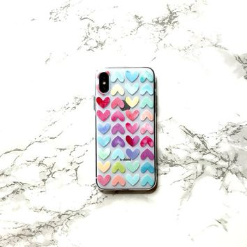 LIVE a COLORFUL LIFE iPhone X 8 7 6s 6 Case, Rainbow Heart iPhone Case Phone Cover Sweetheart Case iPhone Clear Gel Bumper Protective Case