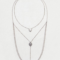 AEO Triple Charm Layered Necklace , Silver