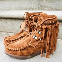 Ankle Fringe Suede Lace Up Flat Boots