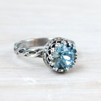 Aquamarine ring sterling silver with Swarovski crystal, something blue, vintage style, floral band, handmade, 8 mm crown setting, stacking