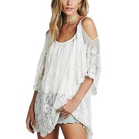 Anself Women Boho Floral Lace Hippie Party Beach Dress Swimsuit Cover Up