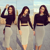 Hot Fashion Two Piece High Waist Crop Top Midi Bodycon Long Sleeve Pencil Skirt  Free shipping