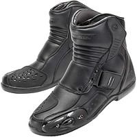 Double Top Stitching Split Grain Water Resistant All Around Reinforced Leather Construction Motorcycle Riding Boots w/Adjustable Dual Closures.