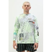 Real Bad Man From Outer Space Ls Tee In Blue/Green Tie-Dye
