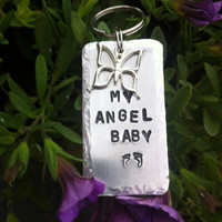 My Angel baby Hand stamped and personalised baby loss, miscarriage, memorial,remembrance key ring
