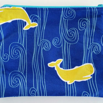 Fun And Versatile Blue Zipper Pouch With Yellow Whales & Aqua Waves