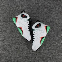DCCK Kids Air Jordan 7 White/Grass Green Sneaker Shoe Size US 11C-3Y
