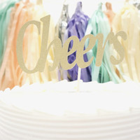 Cheers Birthday Cake Topper in Glitter Gold