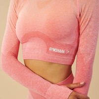 Gymshark Ombre Seamless Crop Top - Peach Coral