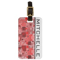 Retro Red Square Party Vertical GL Bag Tag