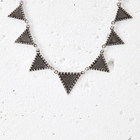 Etched Triangle Pendant Necklace