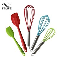 TTLIFE New 5pcs Silicone Baking Set Hygienic Kitchen Accessories Cooking Tools Utensils Whisk Spatulas