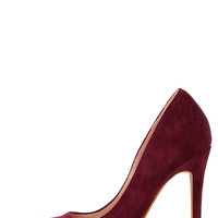 Precisely Right Wine Red Suede Pointed Pumps