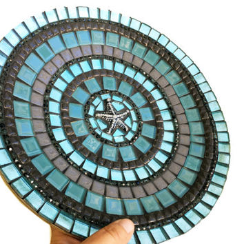 Coffee Table Decor, Glass Mosaic Bowl in Turquoise and Gray, Beach House Decor