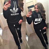 ONETOW Nike Casual Hoodie Top Sweater Pants Trousers Set Adidas Two-piece Sportswear