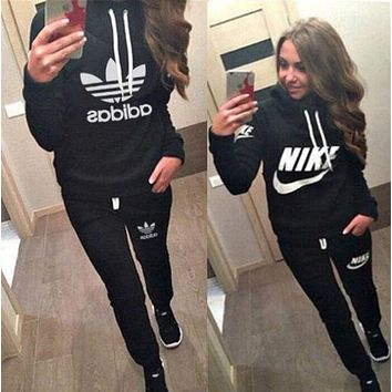 """Nike"" Casual Hoodie Top Sweater Pants Trousers Set ""Adidas"" Two-piece Sportswear"
