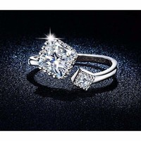 White Gold Plated Opened Cubic Zirconia Ring