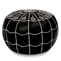 Black with white stitching Moroccan Leather Pouf with arch design Round Genuine Leather