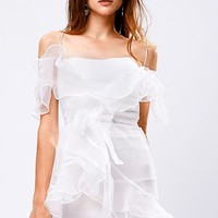 Renee Sheer Ruffle Mini Dress Discover the latest fashion trends online at storets.com