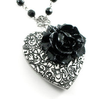 Gothic Lolita Necklace - Gothic Necklace - Midnight at the Opera - Black Rosary Chain with Puffy Heart and Acrylic Rose - by Ghostlove
