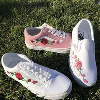 Vans Classics Old Skool Rose Embroidery Sneakers Sport Shoes