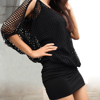 Black Cut-Out Bat-wing Sleeve Mini Dress