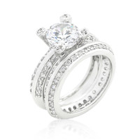 Isabel Vintage Round CZ Pave Engagement and Wedding Ring Set   7.5ct   Cubic Zirconia
