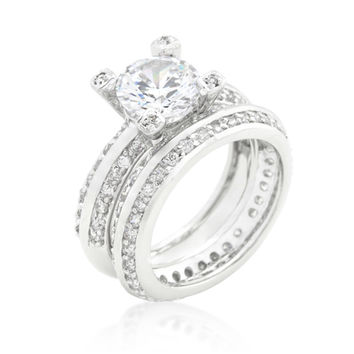 Isabel Vintage Round CZ Pave Engagement and Wedding Ring Set | 7.5ct | Cubic Zirconia
