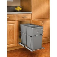 Rev-A-Shelf 19 in. H x 12 in. W x 22 in. D Double 27 Qt. Pull-Out Silver and Chrome Waste Container RV-15KD-17C S at The Home Depot - Mobile