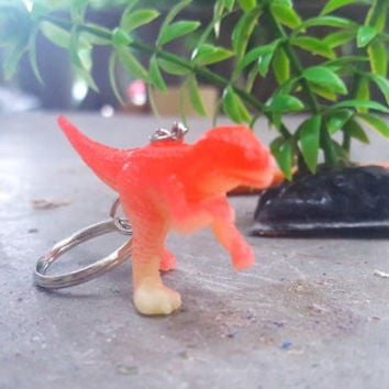 Keychain Dinosaur Red T-Rex Velociraptor FREE SHIPPING!  Great Stocking Stuffer