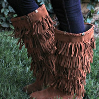 Tall Fringe Mocassin Boots in Tan