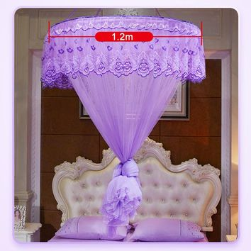 Round Lace Curtain Dome Princess Queen Bed Canopy Netting Mosquito Nets Home Decal Princess Bed Nets E2S