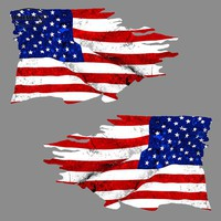 USA TATTERED Flag Car Stickers Rearview Mirror Sticker 2 Pack MIRRORED American Bumper 3D Waterproof Vinyl Decal Car Accessories