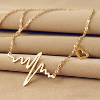 Fashion Women Jewelry Necklace Electrocardiogram Necklace Love Form Titanium Steel Heart Beat Pendant Clavicular Chain