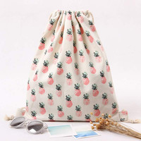 Fruit Pineapple Print  Canvas Drawstring Bag