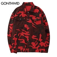 Trendy GONTHWID Men Red Camo Camouflage Denim Jackets Women Hip Hop Casual Denim Jean Jacket Coats Male 2018 Autumn Fashion Streetwear AT_94_13