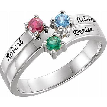 Personalized Layered Engraved Name Mother's Family Birthstone Ring