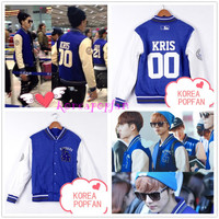 EXO XOXO WOLF GROWL TAO CHAN YEOL KRIS LUHAN KAI LAY BLUE JACKET KPOP NEW