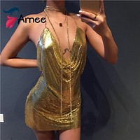 Kendall Jenner Party Dresses 2016 Sexy Night Club Dress Metal sequin dress Spaghetti Strap Gold sequined mini dress vestidos
