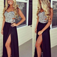 Spaghetti Strap Sequined Cutout High Waist A-Line Pleated Maxi Dress